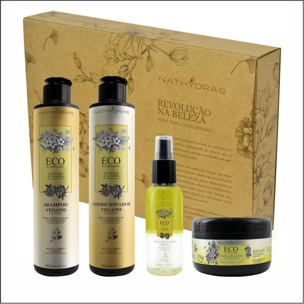 Kit-Shampoo-Condicionador-Mascara-Spray-Vegano-Eco-Iluminador