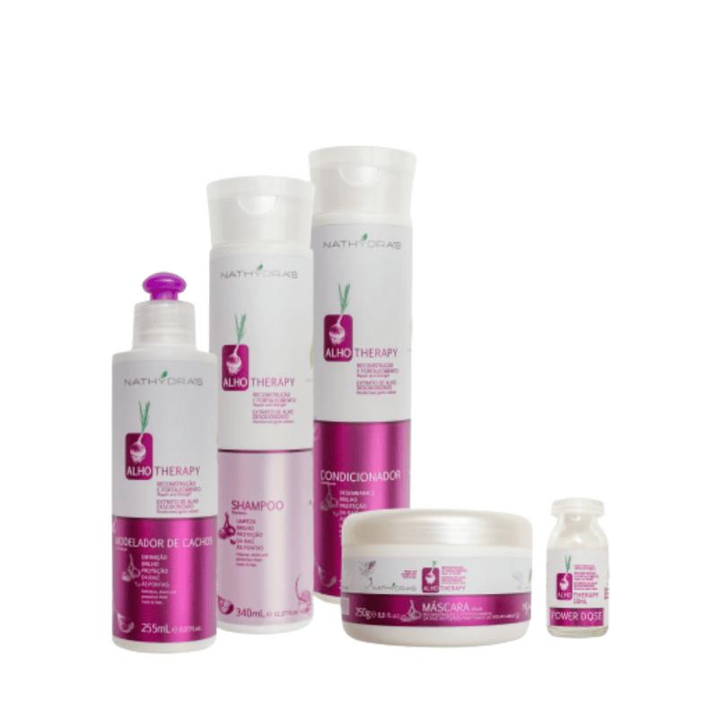 Kit-Nathydras-Alho-4-em-1---Shampoo-Condicionador-Mascara-e-Modelador-de-Cachos-